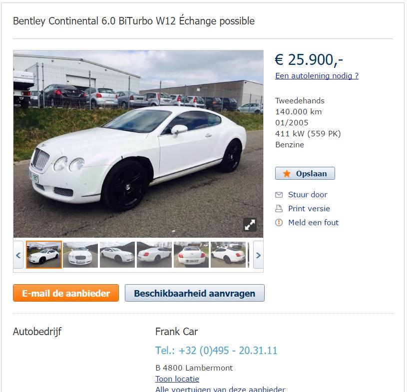 Bentley continental te koop